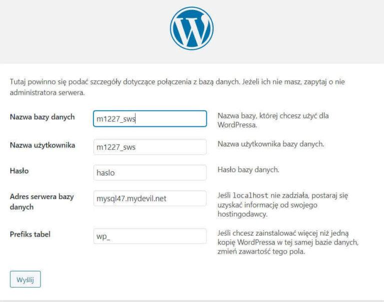 Baza MySQL WordPress