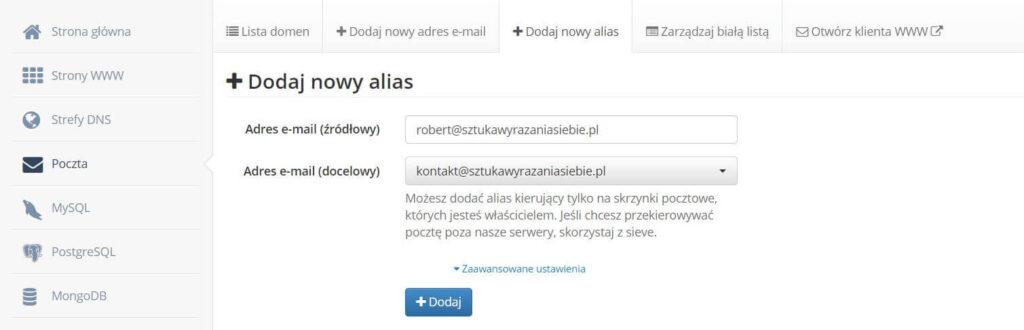 Dodanie aliasu do maila firmowego
