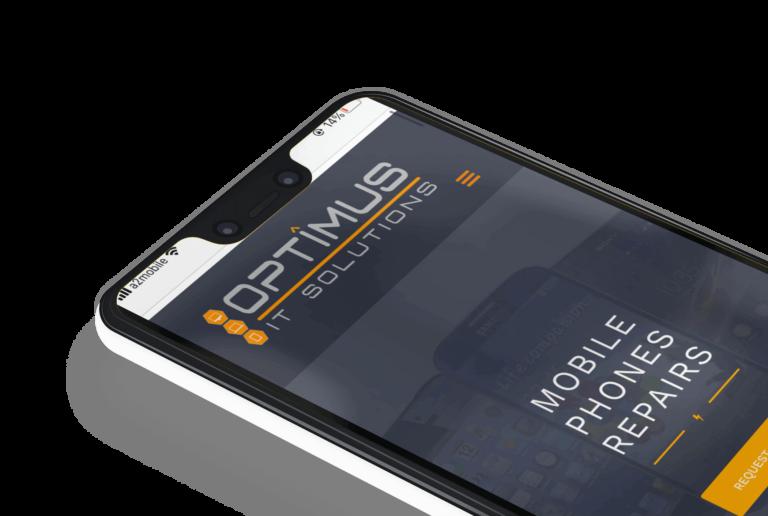 Telefon przedstawiający makietę mobilnej strony internetwej Optimusit