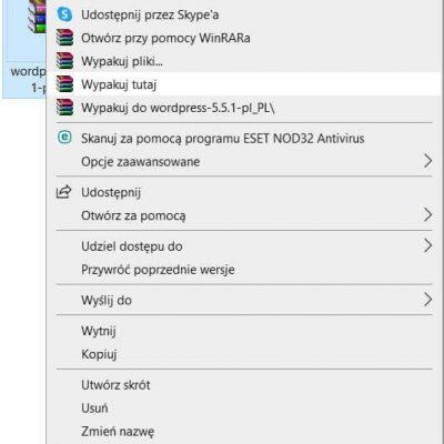 Wypakowanie WordPressa przy pomocy programu Winrar